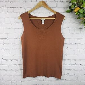 CHICO'S Ribbed Sleeveless Top Brown Size 1